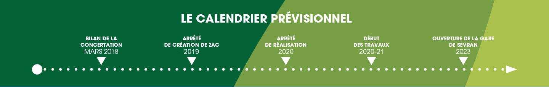 Le calendrier prévisionnel du projet de Sevran Terre d'Avenir